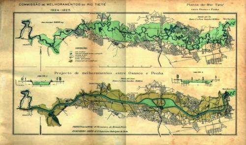 Projeto de Saturnino de Brito para o Rio Tietê - 1924