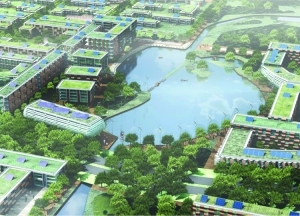 perspectiva da cidade e sistema de canais e lagos Fonte: Landscape Institute