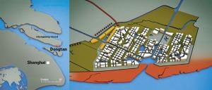 Localização da cidade na ilha de Dongtan fonte: Wired Magazine