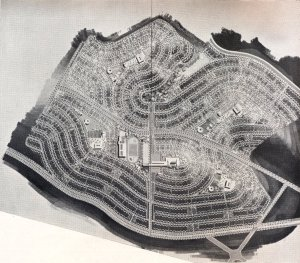 Planta mostrando as 4 unidades de vizinhaça e os locais destinados aos equipamentos